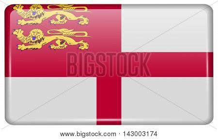 Flags Sark In The Form Of A Magnet On Refrigerator With Reflections Light. Vector