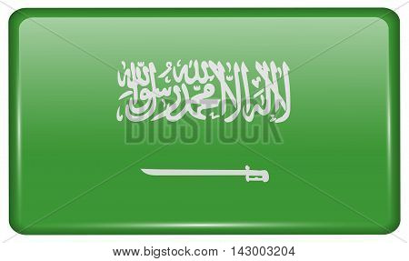 Flags Saudi Arabia In The Form Of A Magnet On Refrigerator With Reflections Light. Vector