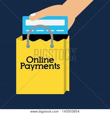 shopping bag credit card online payment ecommerce icon. Flat illustration. Vector graphic