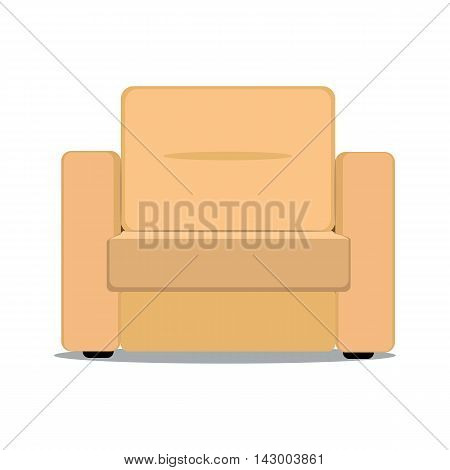 Vector colorful illustration of beige soft armchair in flat style isolated on white background furniture for an interior living room.