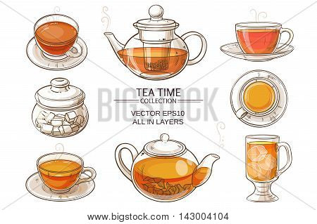 Cup of tea teapot and sugar bowl vector set on white background