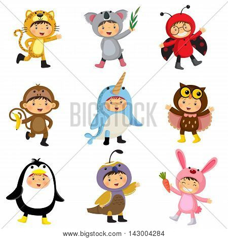 Set of cute kids wearing animal costumes. Jaguar koala ladybird monkey narwhal owl penguin quail rabbit.