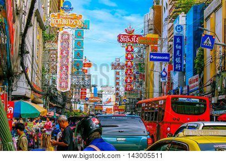 YAOWARAT, BANGKOK, THAILAND - 30 JULY, 2016: Traffic In the morning of chinatown Thailand, Yaowarat is a major gold trading market in Bangkok. on July 30, 2016 in Bangkok Thailand.