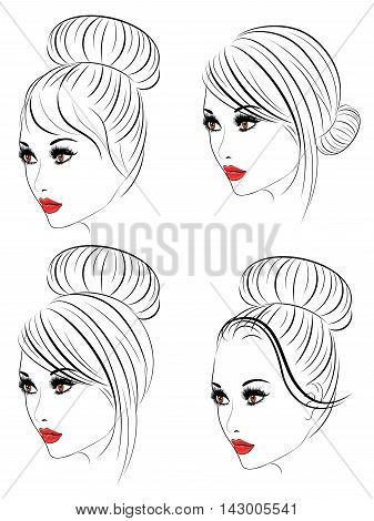 Fashion Hairstyles Lineart