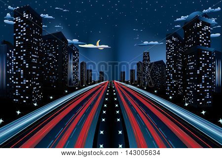 Urban background skyscrapers and two roads in the night city.