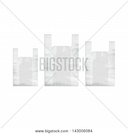Vector Set of White Empty Disposable Plastic Shopping Bags with Handles Close up Isolated on White Background