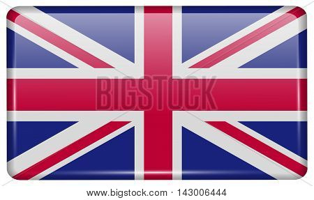 Flags United Kingdom In The Form Of A Magnet On Refrigerator With Reflections Light. Vector