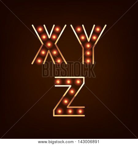 Bulb lamp neon letters abc vector illustration. Red lights with golden rim. Good for retro signboard poster banner flyer design.