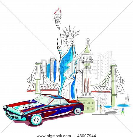 easy to edit vector illustration of United States of America cityscape