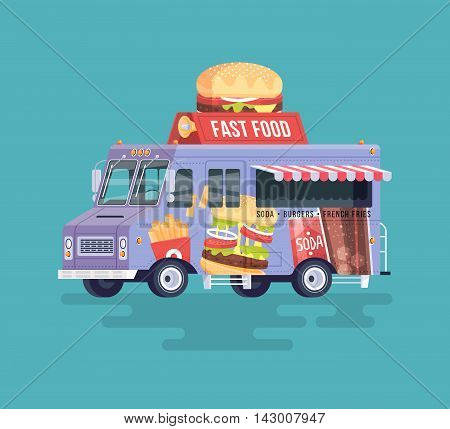 Vector colorful flat fast food truck. Street cuisine. Burgers and sandwiches. Cartoon food truck illustration.