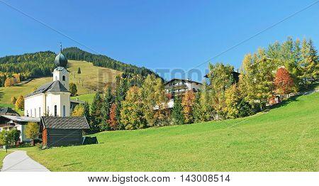 Autumn Landscape in Saalbach-Hinterglemm in Salzburger Land,Alps,Austria