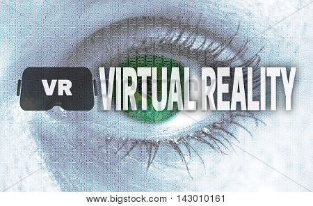 Virtual Reality Eye Looks At Viewer Concept