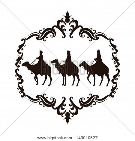 wise man camel holy family merry christmas frame icon. Black white isolated design. Vector illustration