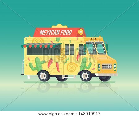 Vector colorful flat mexican food truck. Street cuisine. Vintage colors concept illustration.