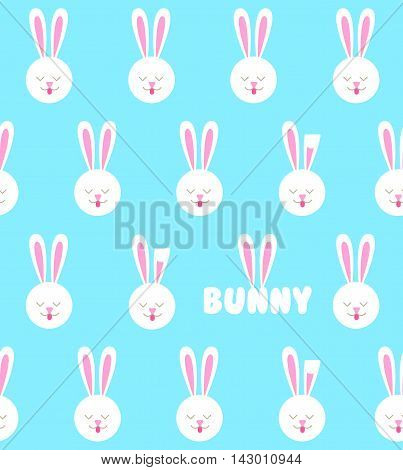 Seamless pattern with bunny. Rabbit pattern on a blue background.
