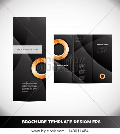 Vector brochure orange circle black background abstract layout design template tri three folded