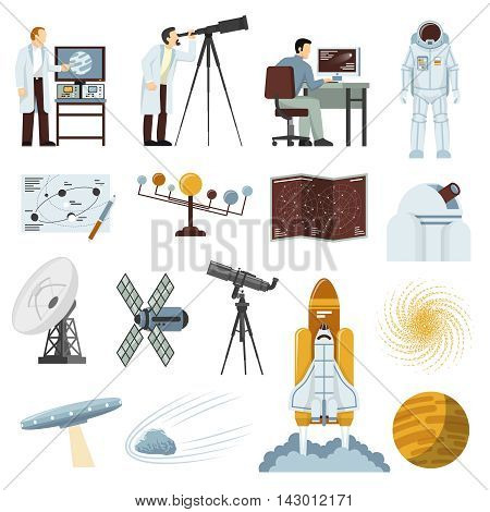 Astronomy study research equipment flat icons collection with radio telescope spacecraft and astronaut space suit isolated vector illustration