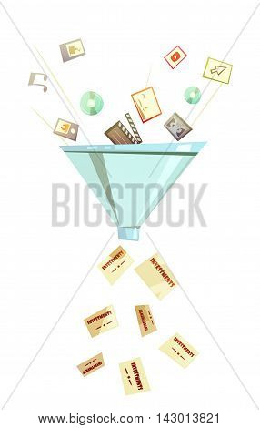 Intellectual investment for profitable business success symbolic funnel retro icon for business success retro cartoon vector illustration