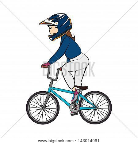 girl bmx ride bicycle bike rider protection helmet female vector illustration isolated