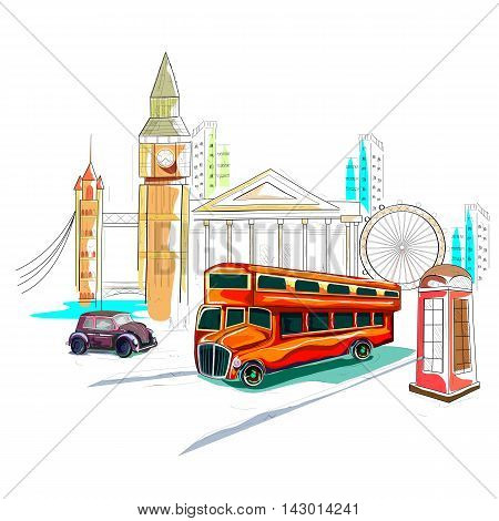 easy to edit vector illustration of United Kingdom cityscape