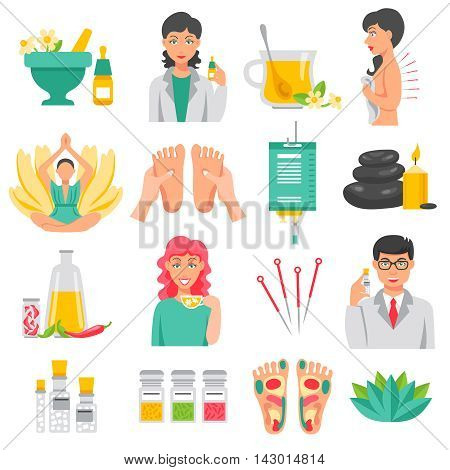 Alternative medicine  set of foot massage lotus flower needles for acupuncture aroma therapy isolated icons flat vector illustration