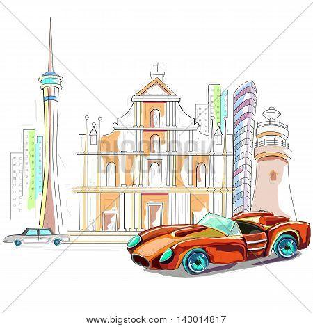 easy to edit vector illustration of Macau cityscape