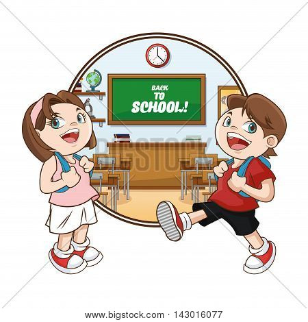 kids girl boy classroom back to school cartoon icon. Colorful design. Vector illustration