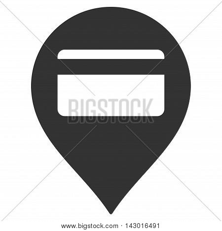 Credit Card Pointer icon. Glyph style is flat iconic symbol with rounded angles, gray color, white background.