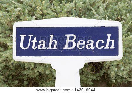 Beach sign American landing of utah beach