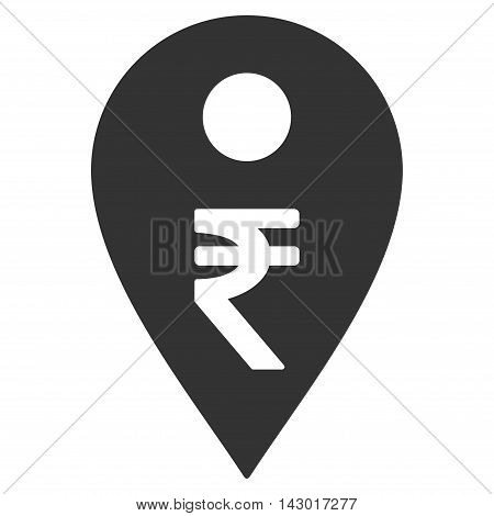 Rupee Map Marker icon. Glyph style is flat iconic symbol with rounded angles, gray color, white background.
