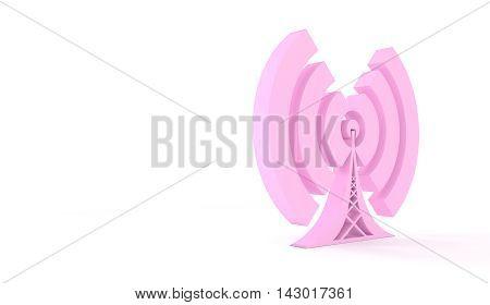 Pink 3d Wi Fi Symbol. Mobile gadgets technology relative image