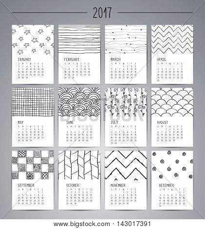 Calendar 2017. Templates with Black Artisticc Hand Drawn Patterns and Textures. Vector Illustration. Isolated.