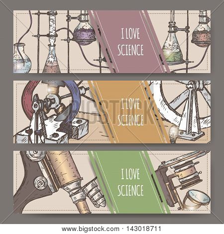 Three landscape banners with hand drawn color science equipment sketch. School memories collection. Great for school, education, book shop, retro design.