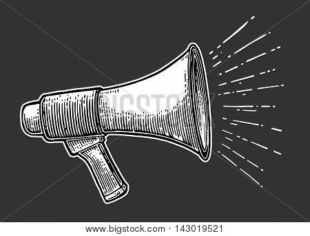 Male hand holding loudspeaker. Vector flat illustration isolated on black background. For banner, poster, presentation, icon, promotion and advertising concept.