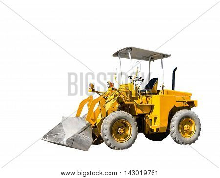 Isolated yellow old bulldozer on white with cliping path
