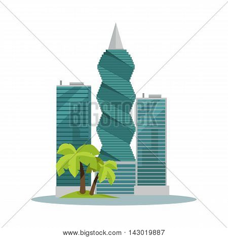 Panama-city buildings vector illustration. Skyscrapers in Panama capital. Modern architecture concept with palm trees in flat style design. F F Revolution tower. Isolated on white background.