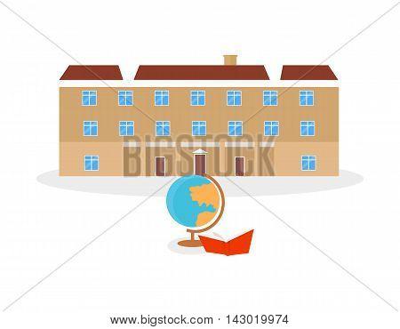 School and university or college building icon. Education student, flat campus design, graduation university. Vector illustration