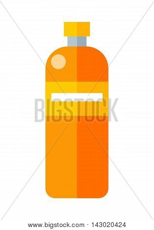 Orange plastic bottle with label. Illustration of bottle of mineral water. Plastic bottle icon. Retail store element. Simple drawing. Isolated vector illustration on white background.