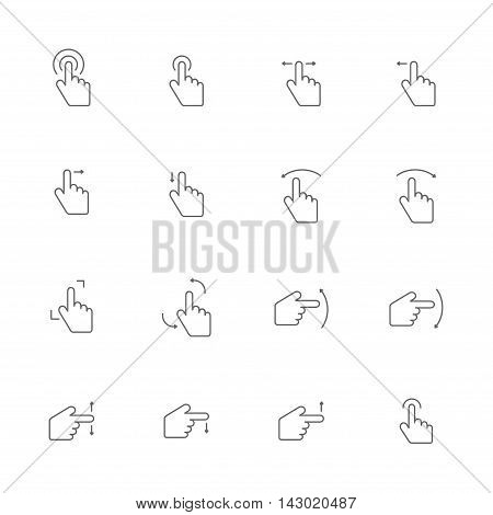 touch screen gray line icons set of 16