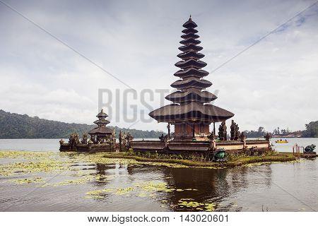 Pura Ulun Danu Bratan, Hindu temple on Bratan lake, Bali, Indonesia