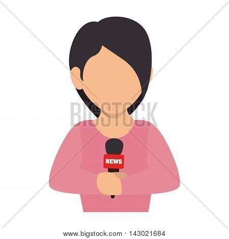 reporter women live transmission microphone journalist report press vector illustration isolated