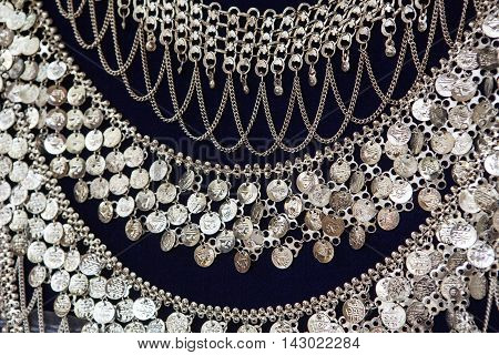 beautiful indian silver jewelry on black background