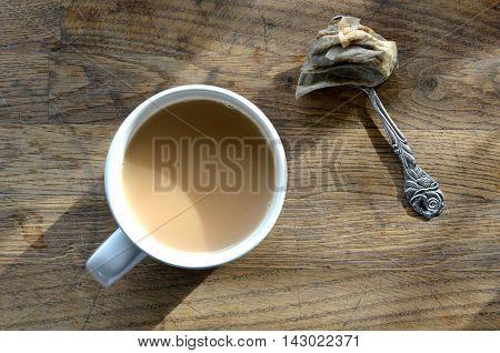 Mug of morning tea with teabag on a spoon