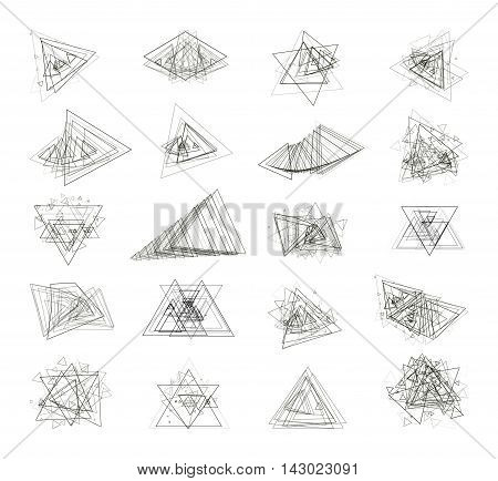 Abstract geometrical background. The monochrome gray set isolated elements for design of posters maps brochures and headers architectonic sites. Drawings. Vector illustration