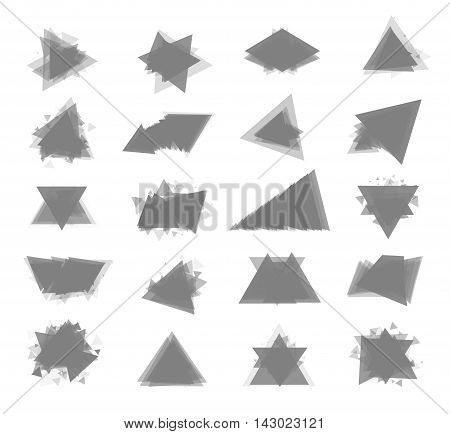 The monochrome gray set isolated elements for design of posters cards brochures and site titles. Isolated objects on white background can be edited. Vector illustration