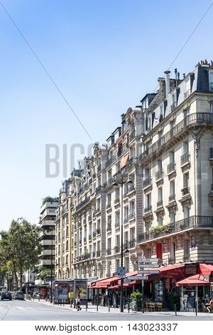 PARIS, FRANCE - August 15 : beautiful Street view of  Buildings around Paris city. Paris is the capital and most populous city of France. August 15, 2016, Paris, France.