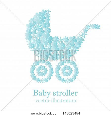 Baby boy stroller consisted of light blue flowers