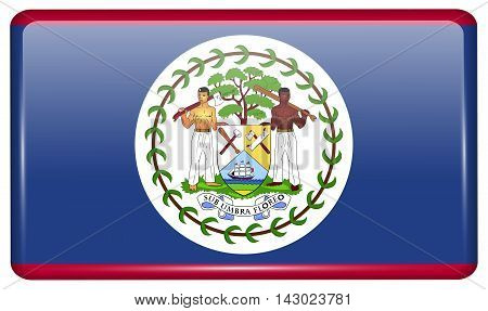 Flags Belize In The Form Of A Magnet On Refrigerator With Reflections Light. Vector