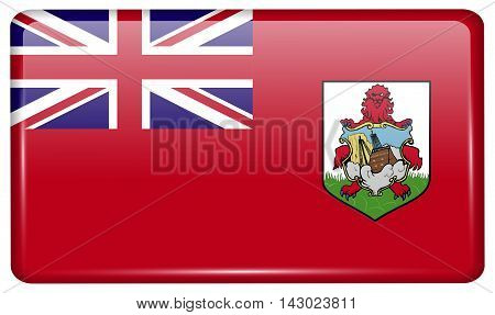 Flags Bermuda In The Form Of A Magnet On Refrigerator With Reflections Light. Vector