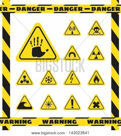 Signs of chemical effects on human radiation radiation and explosives in the yellow triangles. Caution. Vector illustration